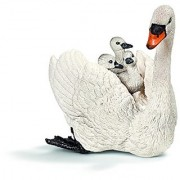 Schleich White Swan with Cygnet Toy Figure