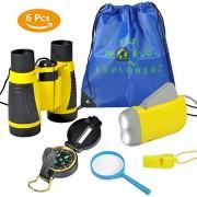 6Pcs Binoculars Set for Kids, Kid Explorer Kit- Children Binocular, Hand Crank Flashlight, Compass, Magnifying Glass, Whistle, and Drawstring Backpack, Exploration Toy Kit for Camping and Hiking