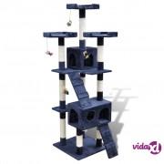 vidaXL Penjalica/grebalica za mačke s dvije kućice plišana tamno plava 170cm