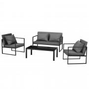 Комплект градинско обзавеждане [casa.pro]® канапе, 2 бр. фотьойли и маса, Черен