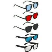 Pari & Prince Wayfarer, Rectangular Sunglasses(Red, Silver, Blue, Black)