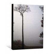 JP London Trees By the Lake Cottage Mist Fog Gallery Wrap Heavyweight Canvas Art Wall Decor, 2' High by 1.5' Wide