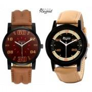 Mark Regal Leather Strap Men's Quartz Watches Combo Of 2