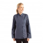 Chef Works Urban Chef Works Hartford Lightweight Zip Womens Chef Jacket Blue XL Size: XL