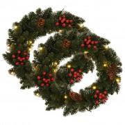 vidaXL Коледни венци с декорация, 2 бр, зелени, 45 см