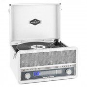 Auna EPOQUE 1907, sistem audio retro, gramofon, casete, bluetooth, USB, CD, AUX (TTS9-Epoque 1907 WH)