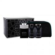 Bvlgari Man Black Cologne set cadou Apa de toaleta 100 ml + Gel de duș 75 ml + Balsam după ras 75 ml + Geantă cosmetică pentru bărbați