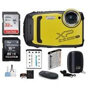 Fujifilm FinePix XP140 Cámara digital resistente al agua, golpes, congelación y polvo (amarillo), incluye tarjetas de memoria SDHC de 32 GB y 16 GB + batería de repuesto + funda para cámara + lector de tarjetas + más
