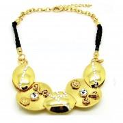 Collar Amber & Black Set, Con Incrustaciones De Cristales, Ocean Heart 11S-139-Oro Amarillo