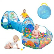 Kids Play Tent with Tunnel, Ball Pit Play House for Boys, Girls, Babies and Toddlers Indoor& Outdoor Playing(Balls Not Included) by SunbaYouth