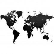 MiMi Innovations Карта на света стенна дърво Luxury черна 130x78 см