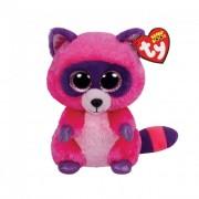 TY Plüss Beanie Boos, 15 cm - Roxie rózsaszín-lila mosómedve