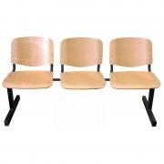 ISO 3P Wood várótermi pad fa ülő- és hátlappal, lakkozott felülettel
