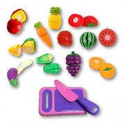 Rose International Kitchen Kids Play Cutting Fruits, Pretend Food Playset Fruit Pieces to be Sliced up with Knife and Cutting Board, Multicolored, 13 Piece