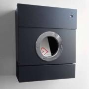 Radius Design Letterman 2 Briefkasten schwarz (RAL 9005) mit Klingel in blau mit Pfosten in Briefkastenfarbe