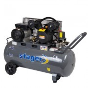 Compresor aer 100 litri, Stager HM-V-0.25/100, 8 bari, kit 4 accesorii aer comprimat ce cuprinde pistol vopsit, pistol suflat, pistol manometru, furtun spiralat
