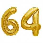 De-Ultimate Solid Golden Color 2 Digit Number (64) 3d Foil Balloon for Birthday Celebration Anniversary Parties