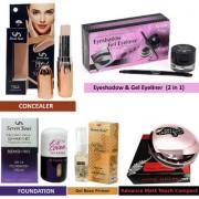 5 Pcs Beauty Combo Studio Concealer Matte Touch Compact Gel Base Primer Foundation Eyeshadow Gel Eyeliner(2in1)