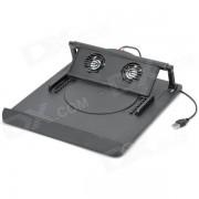 Plegable de angulo ajustable de doble ventilador de refrigeracion soporte de equipo para portatil - negro