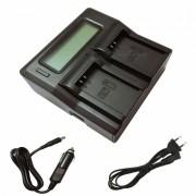 Ismartdigi LPE12 LCD cargador de bateria de doble ranura para Canon LP-E12 - negro