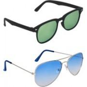 Zyaden Rectangular, Aviator Sunglasses(Green, Blue)