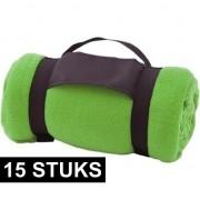 Merkloos 15x Fleece dekens/plaids groen afneembaar handvat 160 x 130 cm - Plaids
