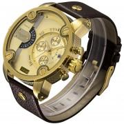 Cagarny 6818 Moda DZ Estilo Gran Dial Reloj Doble Movimiento De Cuarzo Reloj De Pulsera Con Banda De Ecocuero Deportivo Y Funcion De Calendario Para Los Hombres (Brown Band Gold Case)