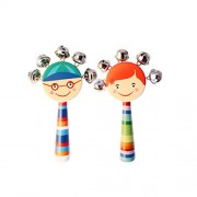 TOYMYTOY 2pcs Jingle Bell Stick Wooden Rattle Bells Educational Musical Instrument Toys (Random Color)