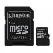 Card memorie Kingston microSDHC 16 GB clasa 10 + adaptor