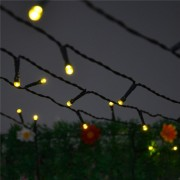 Ghirlanda Luminoasa 10m cu 100 LEDuri, Cablu Negru, Lumina Calda, Conectabila 200M, de Exterior
