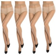 Neska Moda Women 4 Pair Nylon Skin Panty Hose Stockings STK4 4Set