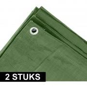 Ben Tools 2x Groene afdekzeilen / dekzeilen 3 x 5 meter