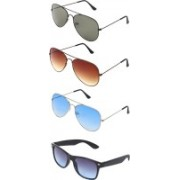 Abner Aviator, Wayfarer Sunglasses(Green, Brown, Blue, Blue)