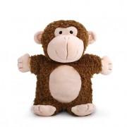 DEMDACO Mingus Monkey Puppet Chestnut Brown and Peach Children's Plush Stuffed Animal Toy