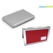 Billionbag New Steel Plain Stainless & Steel Red Leather Metal Business ATM 6 Card Holder(Set of 2, Multicolor)