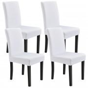 [neu.haus]® Set de 4 x funda para silla material extensible y elástico para diferentes tamaños de sillas - en color blanco