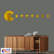 Look Decor-1 Virus 7 Dot-(Golden-Pack of 8)-3D Acrylic Mirror Wall Stickers Decoration for Home Wall Office Wall Stylish and Latest Product Code Number 1012