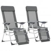 vidaXL Cadeiras campismo dobráveis c/ apoio pés 2 pcs alumínio cinza