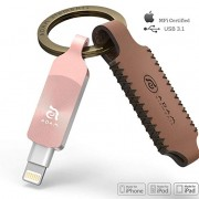 Adam Elements iKlips Duo+ iPhone Flash Drive with Premium Protective Leather Keychain Case 64GB (Rose Gold)