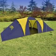 Палатка за къмпинг за 9 човека от полиестер, синьо и жълто