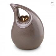 Grote Keramische Teardrop Urn Grey - Gouden Hart (3.8 liter)