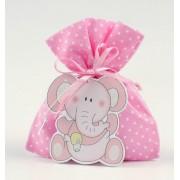 Colgante madera elefante rosa en saco topos rosa