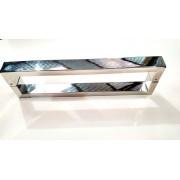 Puxador Inox Duplo para Madeira E Vidro Quadrado 40*20*1000 Furação 980mm Polido