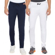 Cliths Men's White Navy Blue Slim Fit Solid Trackpants (Pack Of 2)