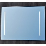 Badkamerspiegel Qmirrors Sanicare 70x65x3.5cm Aluminium 2 Verticale Geintegreerde LED Verlichting Sensor Lichtschakelaar Warm Wit