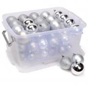Merkloos Kerstversiering opbergboxen met 70 zilveren kunststof kerstballen