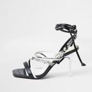 river island Womens Black Snake Print Square Toe Tie Up Sandal (7)