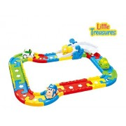 Little Treasures Smart Tracks Building block wheels toy set - built-in battery-operated track with lights and sounds multi-colored pathway pieces - uses 3 button cell crossing seesaw animated toy cars and rails 18M+