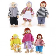 Tinksky 6pcs Happy Doll Family Wooden Joint Puppet Maumet Including Grandparents for Kids Fun Role Playing Gift