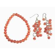 Dark Orange Cats Eye Stone Bead Sterling Chandelier Earrings Bracelet